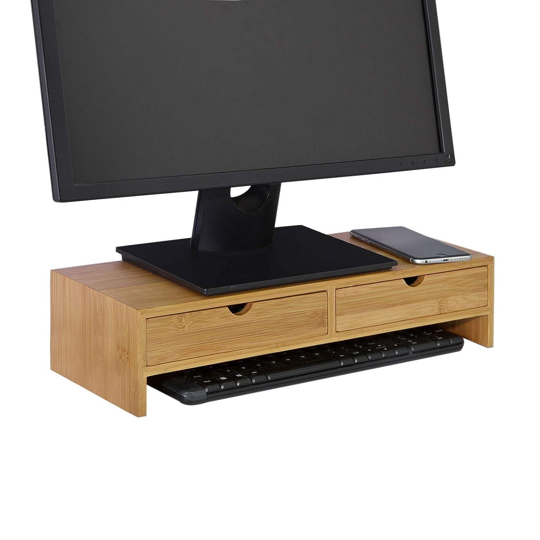 SoBuy® Stand Supporto per Monitor,Organizzatore da scrivania, porta PC, bambù, FRG198-N,IT