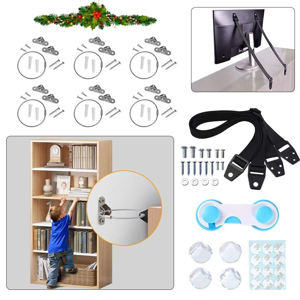 WEMOSI Furniture Anchors TV Straps - 6PCS Furniture Anchors Straps for Baby Proofing, 2PCS TV Safety Straps, 4PCS Corner Protectors, 1PCS Child Latches Anti Tip Furniture Wall Anchor Kit