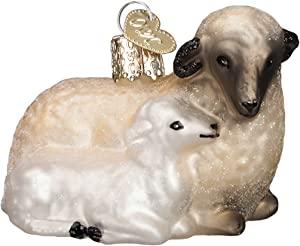 Old World Christmas Spiritual Gifts Glass Blown Ornaments for Christmas Tree Sheep with Lamb