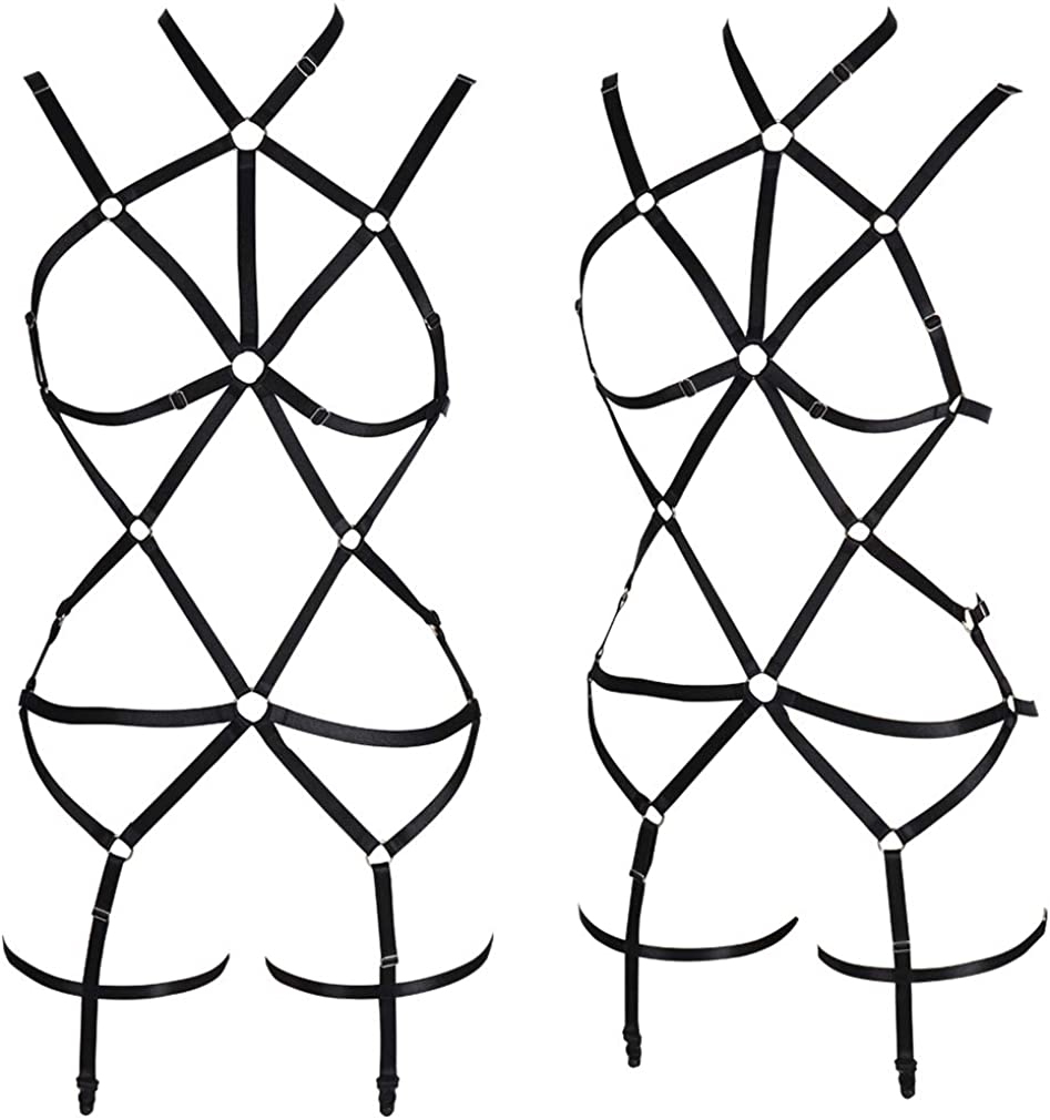 Womens Punk Body Harness Lingerie Full Waist Garter Belts Set Strappy Frame