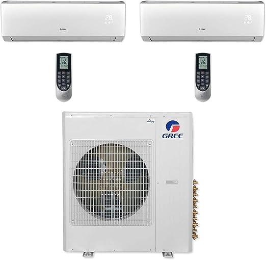 Amazon Com Gree Multi42cvir209 42 000 Btu Multi21 Dual Zone Wall Mount Mini Split Air Conditioner Heat Pump 208 230v 24 24 Home Kitchen