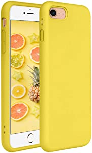 iPhone SE Case(2020),iPhone 8 Case, iPhone 7 Case, Pelipop Yellow Colorful Slim Fit Anti-Scratch Soft TPU Gel Silicone Skin Frosted Protective iPhone Cover for iPhone SE/7/8(Yellow)
