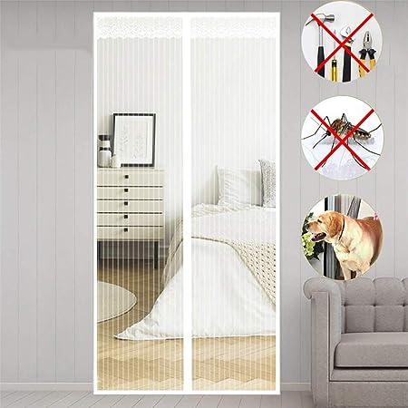 MENGH Mosquitera Puertas corredera 70x180 CM Pantalla MagnéTica Cerrado automáticamente Plegable Protección contra Insectos para Pasillos/Puertas Blanco: Amazon.es: Hogar