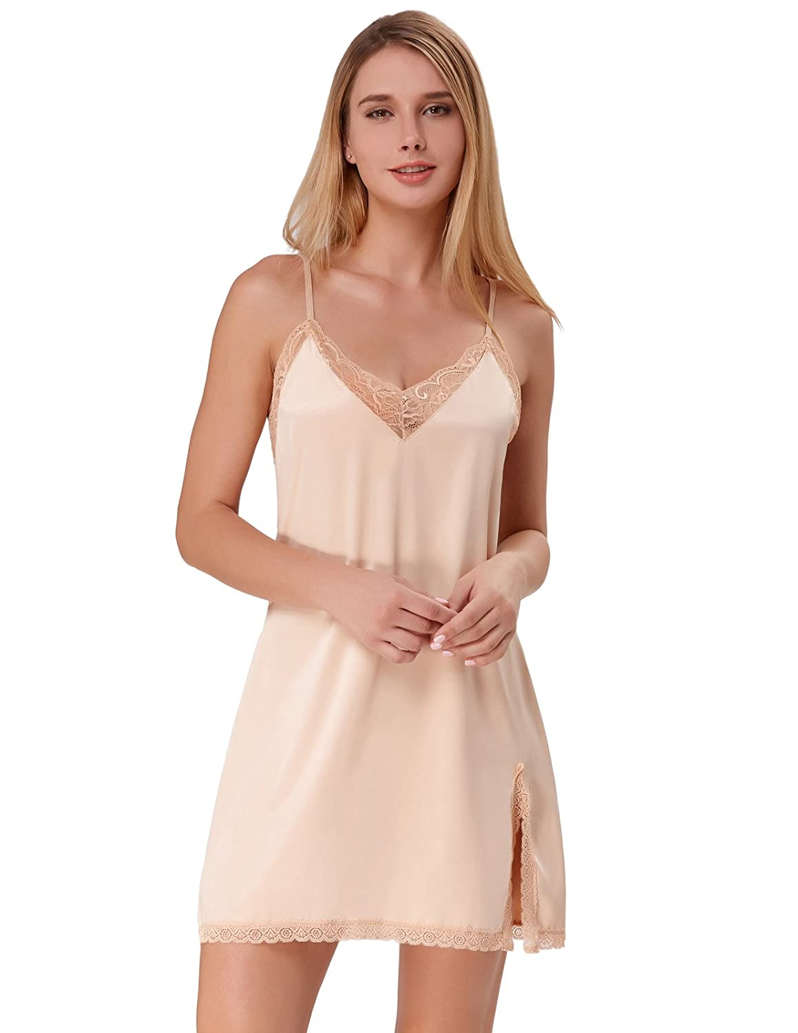 Zexxxy Women Nightgowns Sexy Lingerie Slip Lace Chemises Satin Sleepwear ZE0054 at Amazon Womens Clothing store: