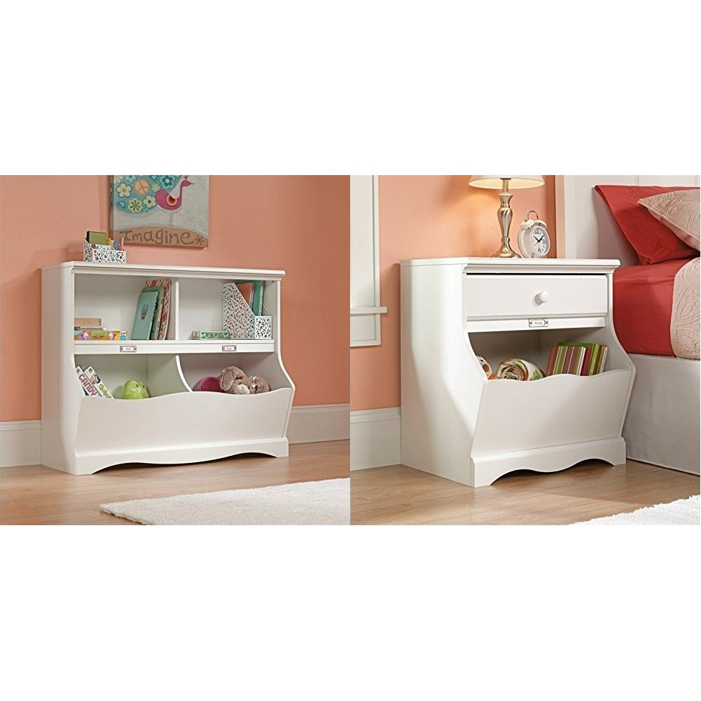 Sauder Pogo Bookcase/Footboard, Soft White Finish + Sauder Pogo Night Stand, Soft White Finish_Bundle by
