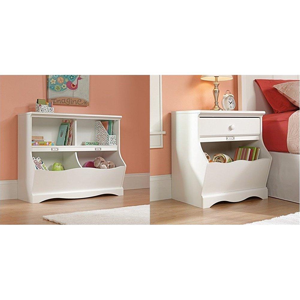 Sauder Pogo Bookcase/Footboard, Soft White Finish + Sauder Pogo Night Stand, Soft White Finish_Bundle