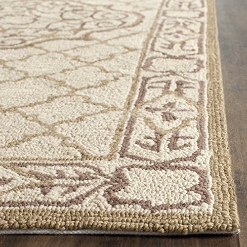 Gold Elements Ivory - Safavieh Easy to Care Collection EZC729C Hand-Hooked Ivory and Gold Area Rug (3' x 5')