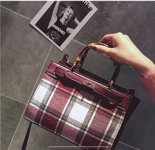 Gray Red Handbag Handbag Hand Fashion Bag Tricolor Shoulder Diagonal Plaid Rrock wCSqz4aq