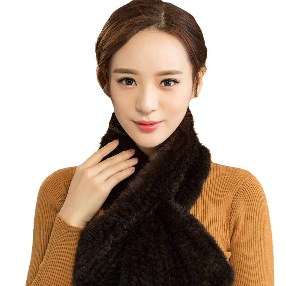 Queenshiny New Style Women's Knitted Mink Fur Scarves Circle (One size, Coffee)