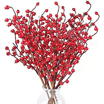 TERUNPU 6pcs Artificial Red Berries Christmas Berry Stems Holly Berries on Branches for Crafts, Kitchen, Home, Party and Christmas Decoration
