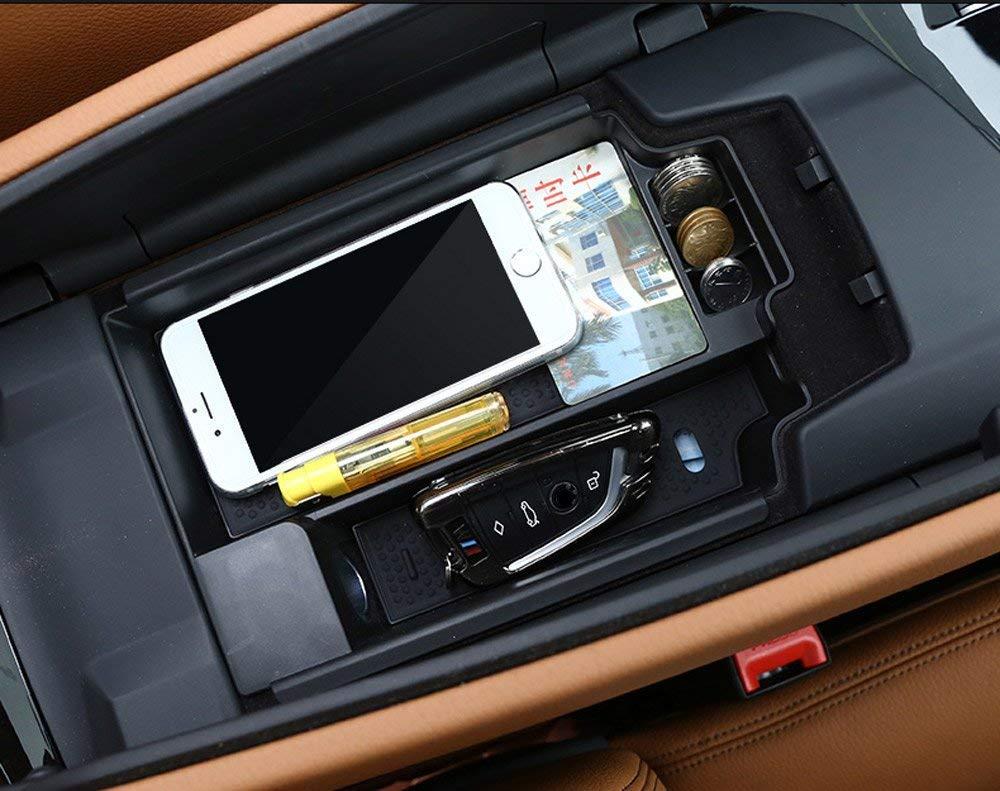 Kunststoff Auto Innenarmlehne Aufbewahrungsbox Konsole Zentralbehä lter Telefon Handschuh Tray Halter 5 Serie G30 2017 2018 Schwarz Auto-broy