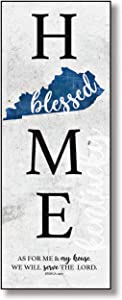 "Kentucky Home Wood Plaque with Inspiring Quotes 6""x15 3/4"" - Classic Colorful Vertical Wall Frame 
