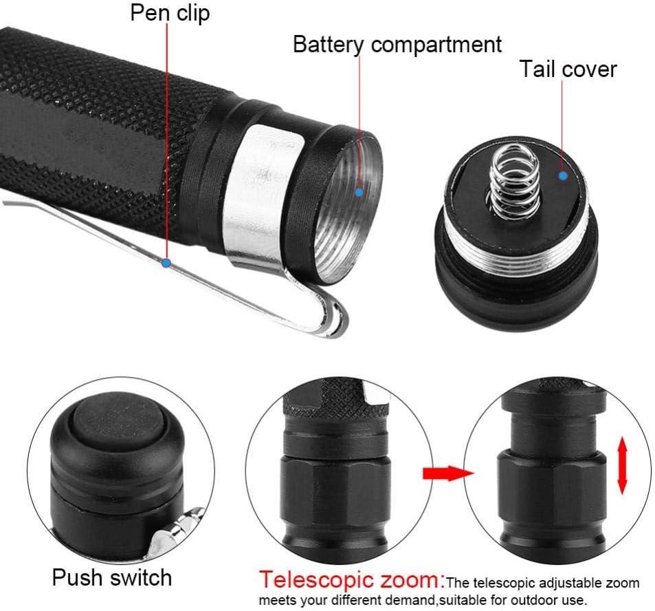 Lampe de Poche Mini Portable LED Stylo Lampe de Poche Zoom t/élescopique pour Le Camping en Plein air Zyyini Lampe de Poche Clip Stylo