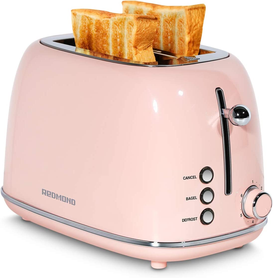 REDMOND 2 Slice Toaster Retro Stainless Steel Toaster with Bagel, Cancel, Defrost Function and 6 Bread Shade Settings Bread Toaster, Extra Wide Slot and Removable Crumb Tray, Pink, ST028