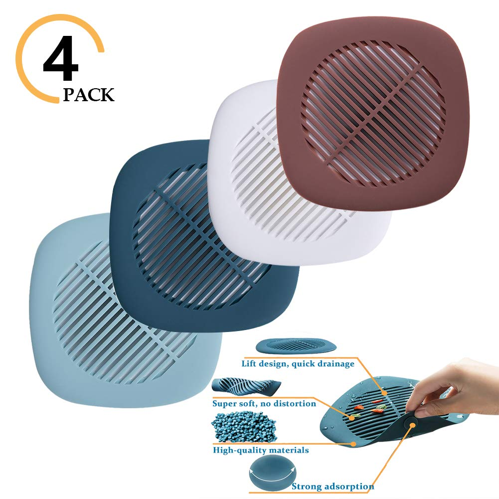 Hair Catch Shower Drain Covers Trap Showe Catcher Silicone Bathtub Stopper Universal Home Protector Tub Filter Sink Strainer for Bathroom Kitchen by MeetLover