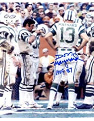 Don Maynard (Football HOF) Autographed/ Original Signed 8x10 Color Photo Showing Him on the New York Jets Sideline Pictured with Joe Namath