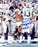 Don Maynard (Football HOF) Autographed/Original Signed 8x10 Color Photo Showing Him on the New York Jets Sideline Pictured with Joe Namath