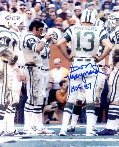 - Don Maynard (Football HOF) Autographed/Original Signed 8x10 Color Photo Showing Him on the New York Jets Sideline Pictured with Joe Namath