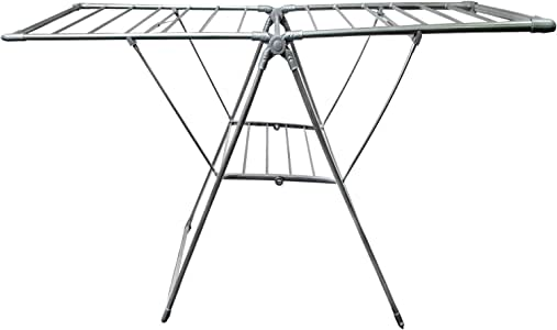 HOUZE  2-Fold Wing Clothes Drying Airer Rack, Grey, 35 Metre, (OLN-8001)