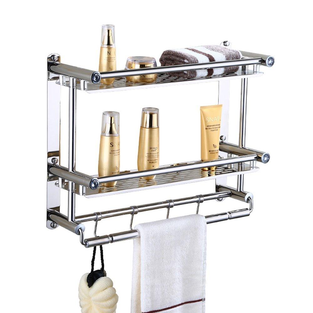 AIYoo Bathroom Shelves with Movable Towel Hooks ,15.8''x6.3''x15.4'' Wall Mount 2 Tier Bathroom Shelf Organizer with Towel Bar - Stainless Steel Shower Caddy Storage Shelf with Towel Rack