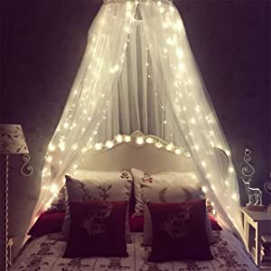 Mosquito Net for Bed, Bed Canopy with 100 led String Lights, Ultra Large Hanging Bed Curtain Netting for Baby, Kids, Girls Or Adults. 1 Entry,for Single to King Size Beds | Camping, Patio |(White)