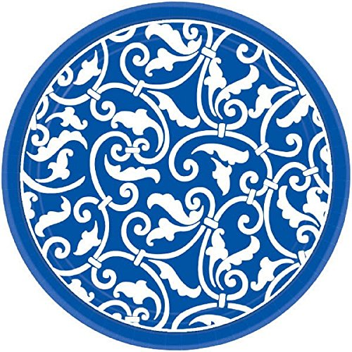 Amscan Party Ready Ornamental Scroll Round Dessert Plates (Pack Of 8), Royal Blue/White, 7