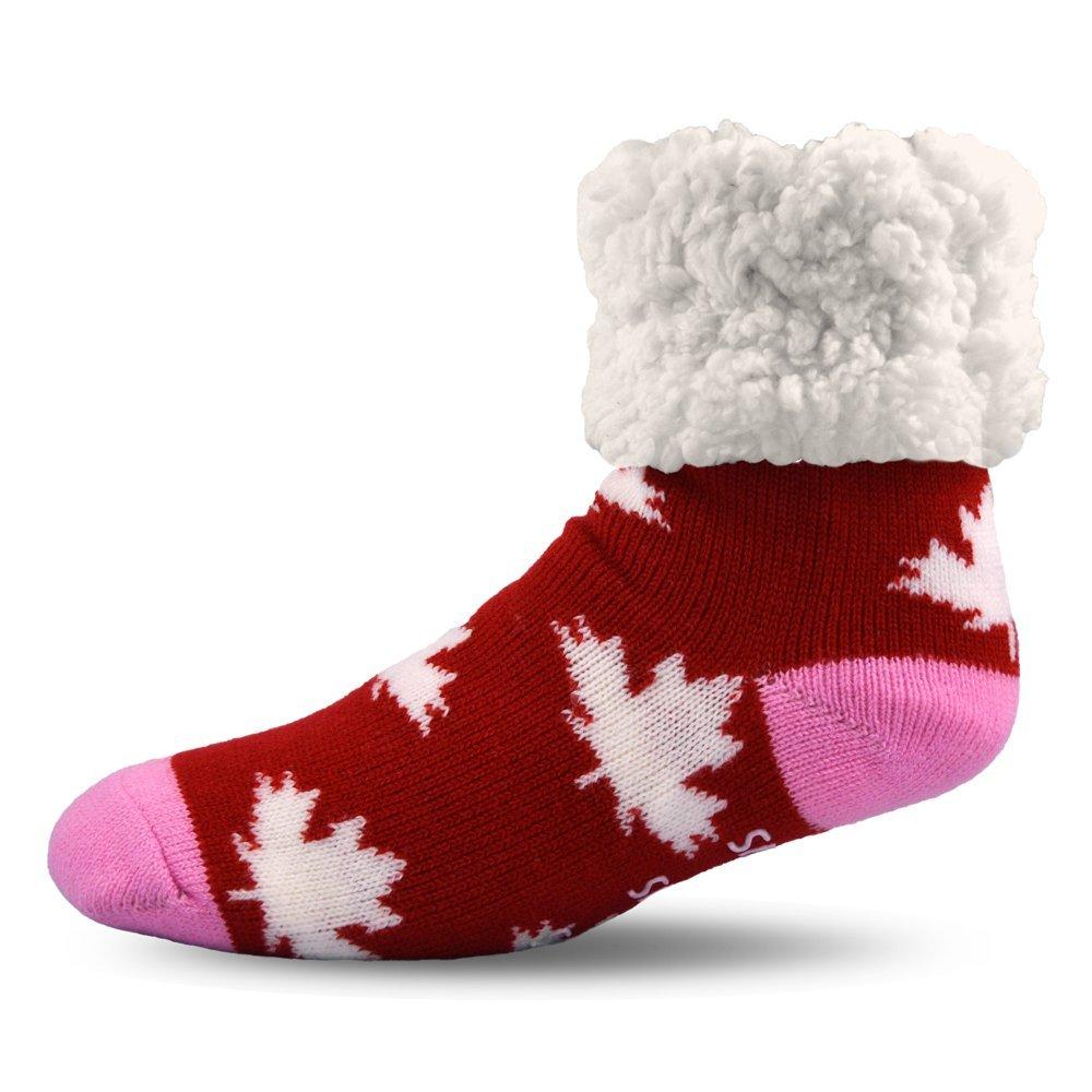 Pudus Unisex Classic Slipper Socks, Adult, Canada Red CAN-2-C