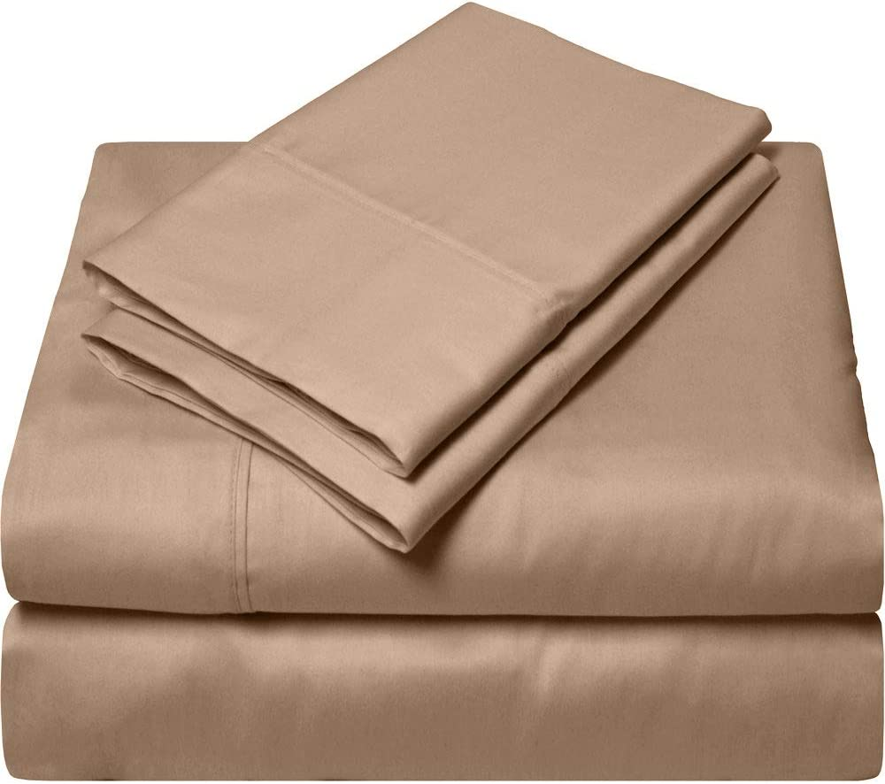 RV King Sheets Luxury Soft 100% Egyptian Cotton - Sheet Set for RV King 72x80 Mattress Taupe Solid 600 Thread Count Deep Pocket