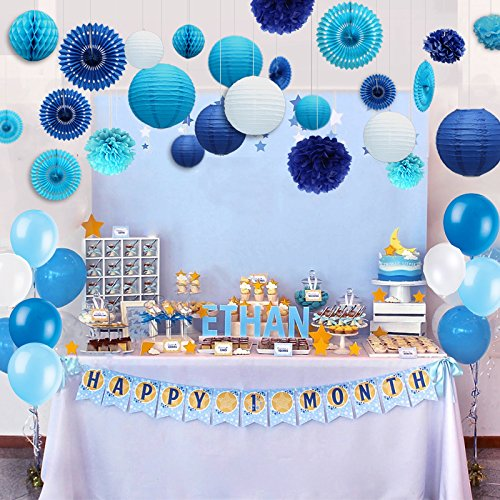 Kubert 89 Pcs White and Blue Party Decorations Including Paper Tissue Pompoms, Paper Tissue Pompoms, Paper Fan Flower, Paper Lantern & Balloons for Birthday, Baby Shower, Bridal, Weddings & More