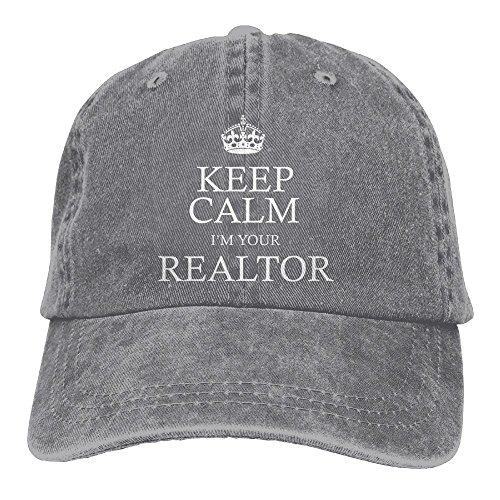 Keep Calm I'm Your Realtor Adjustable Adult Cowboy Cotton Denim Hat Sunscreen Fishing Outdoors Retro Visor (Service Visor Hat)