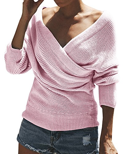 Gemijack Womens Off The Shoulder Sweater Casual Wrap V Neck Knitted Loose Long Sleeve Pullover