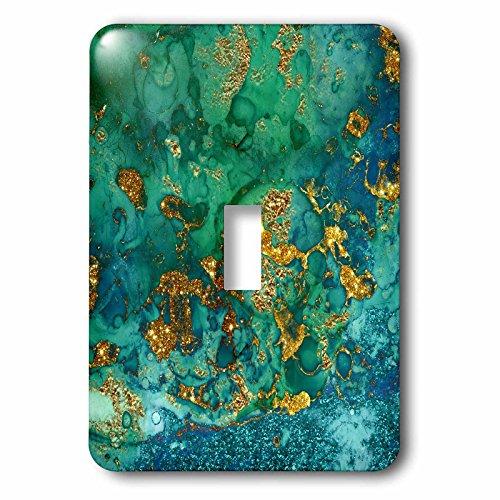 3dRose lsp_275046_1 Art Print of Green Indigo Gold Marble Agate Mineral Malachite Quartz Toggle Switch Multicolor