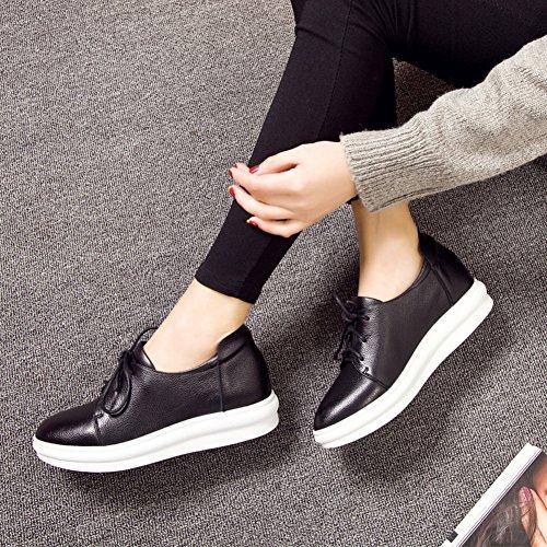 plataforma mujer Zapatos de de versión Aumentó cuero la zapatos zapatos A redonda de cabeza en coreana casual qSF6p7E8