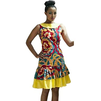 e7f7c0d93d6 FEITONG New Women Summer Casual Deep V-Neck Traditional African Print Party  Dresses (XL