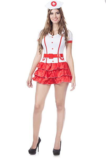 405536b55fd Image Unavailable. Image not available for. Color  JJ-GOGO Naughty Nurse  Costume - Sexy Hospital Hottie White Nurse Halloween Cosplay ...
