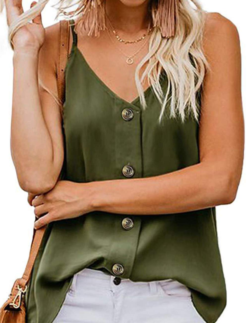 RSM&CHENG Women's Button Down V Neck Strappy Tank Tops Loose Casual Sleeveless Shirts Blouses(Arm Green,M