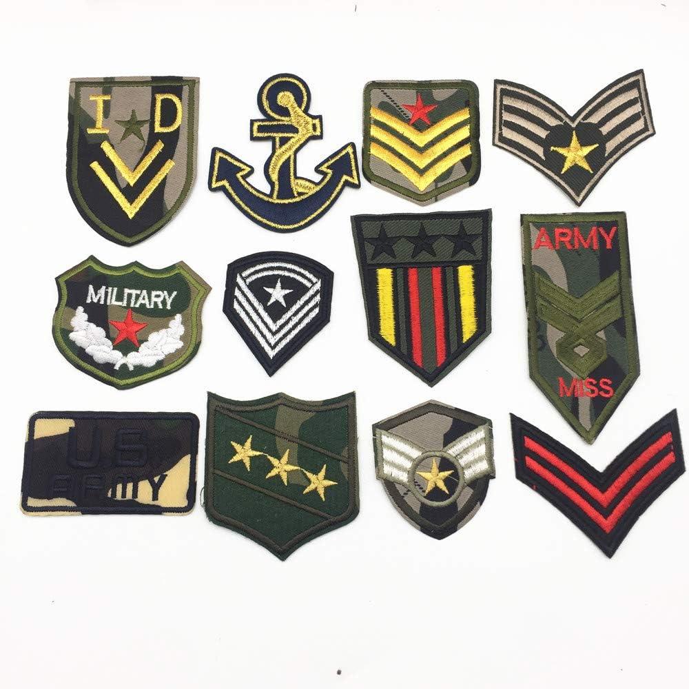 Nos Ejército Militar parches bordados parches de hierro en su moral pegatinas de ropa Sew On apliques insignias pegatinas de tela prendas de vestir Patch 12 unidades: Amazon.es: Juguetes y juegos