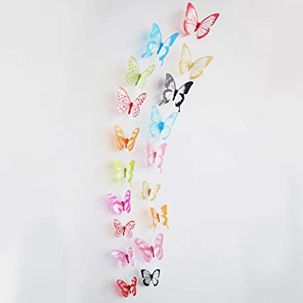 Jewh [18pcs/lot 3D Crystal Butterfly Wall Sticker - Art Decal Home Decor for