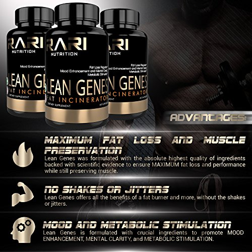 RARI Nutrition Lean Genes 100% Natural Fat Burner and Thermogenic Men and Women No Shakes or Jitters Easy to Swallow Vegetable Capsules 60 Count
