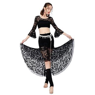 c0d2a52a7a2 BOZEVON Womens Lace Latin Dance Dress Ballroom Costume Salsa Tango  Performance Outfits Top   Skirt