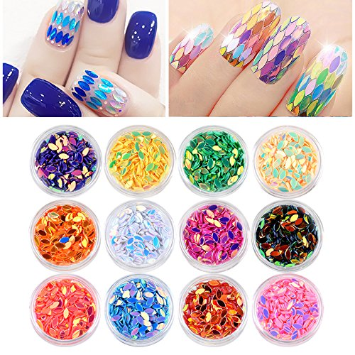 (12 Pcs Symphony Oval Holo Nail Art Glitter Sequins Leaf Marquise Design 3d AB Colorful Laser Mermaid Nail Accessories Tips DIY Nail Decorations Sets)