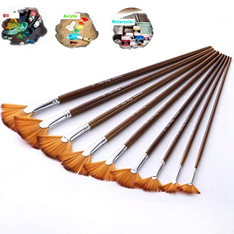 Oil Painting Crafts Drawing Fan Brush Watercolor Pen Wooden Handle Nylon Hair