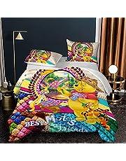 BWE Home 3Pcs Kids Winnie The Pooh Comforter Set for Girls Boys 3D Cartoon Winnie The Pooh Bedding Set with 2 Pillowcase Soft Microfiber Comforter Quilt Bed Set