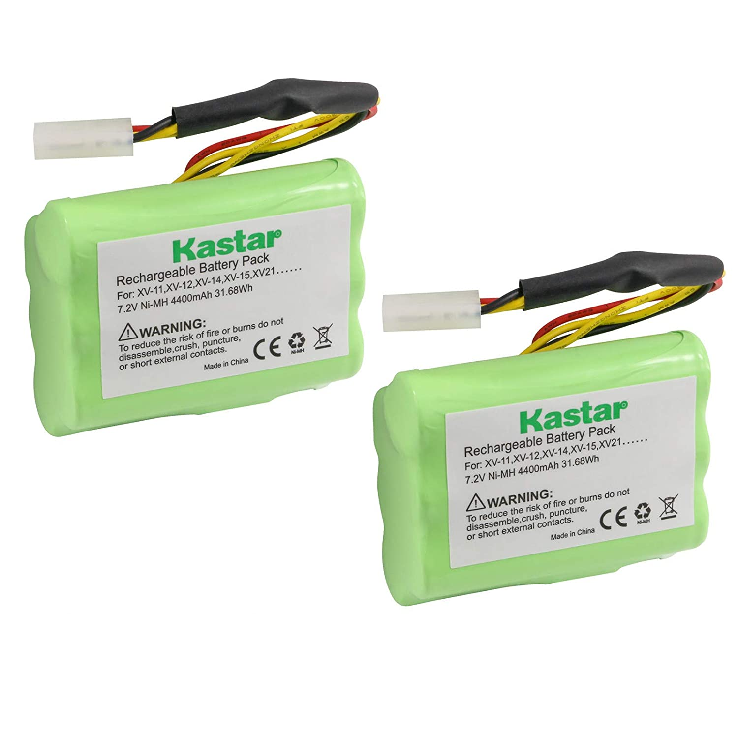 Kastar XV11 Battery (2 Pack), Ni-MH 7.2V 4400mAh, Replacement for Neato XV-11 XV-12 XV-14 XV-15 XV-21 XV-25, XV Essential, XV Signature Pro Robotic Vacuum Cleaners Neato Battery 945-0005 205-0001