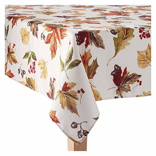 Fall Thanksgiving Fabric Tablecloth - Autumn Harvest Scattered Leaves Print - 60