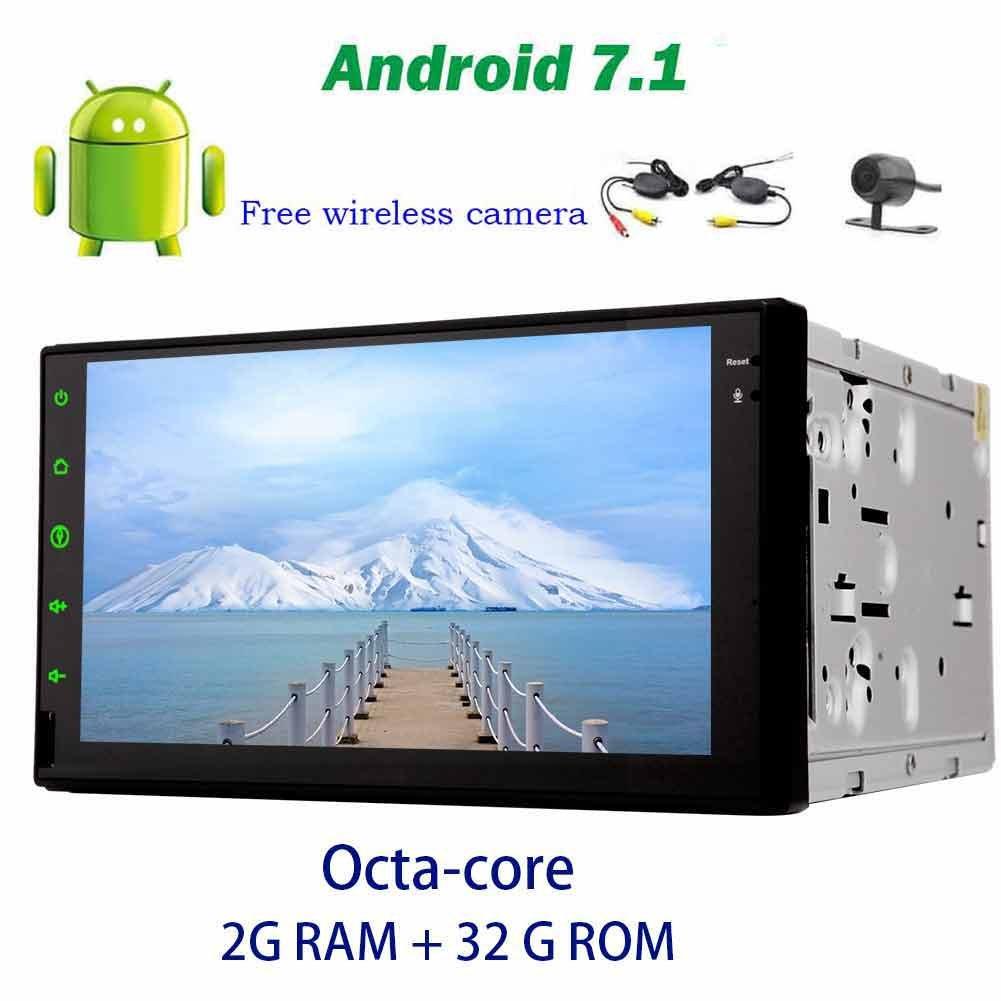 ダッシュアンドロイド7.1ダブルディンませんDVDプレーヤーラジオステレオGPSナビゲーションヘッドユニットのサポートのWiFi、ブルートゥースAM / FM +ワイヤレスバックアップカメラでは7容量性タッチスクリーンカーオーディオ B0778M4M79