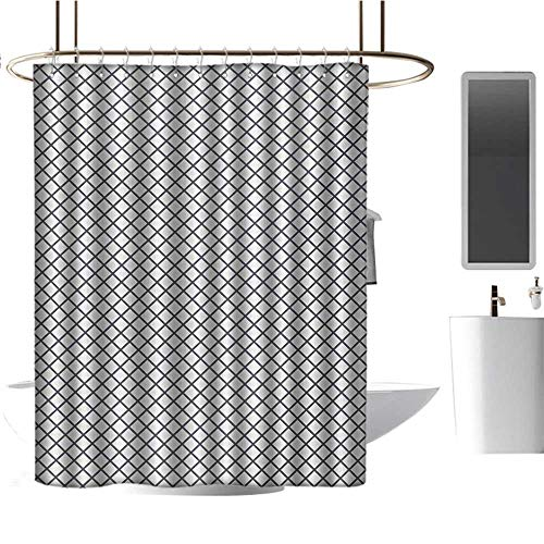 Qenuan Hotel Grade Shower Curtain Modern,Geometrical Stripes Crossing Zig Zag Basket Braid Like Image,Charcoal Grey Black and White,Print Polyester Fabric Bathroom Decor Sets 70
