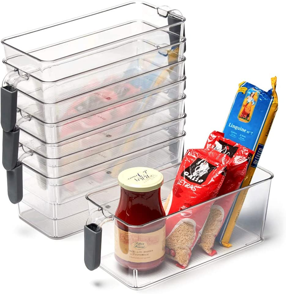 EZOWare Set of 8 Plastic Storage Bins with Handle, Clear Container Organizer Box for Refrigerator, Freezer, Pantry, Bathroom - Medium