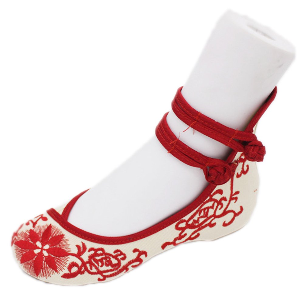 AvaCostume Womens Chinese Cheongsam Matched Shoes Casual Dance Shoes, Red, 38