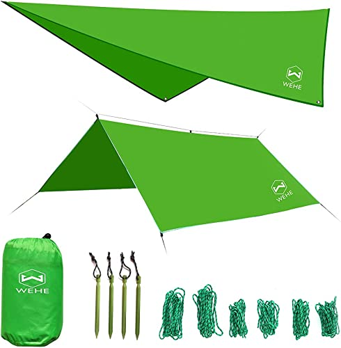 WEHE Hammock Camping Waterproof Tent Rain Fly – 210T Ripstop Essential Survival Shelter, 10 Large Lightweight Carrying Drawstring Outdoor Backpacking Tarp, Stakes Included
